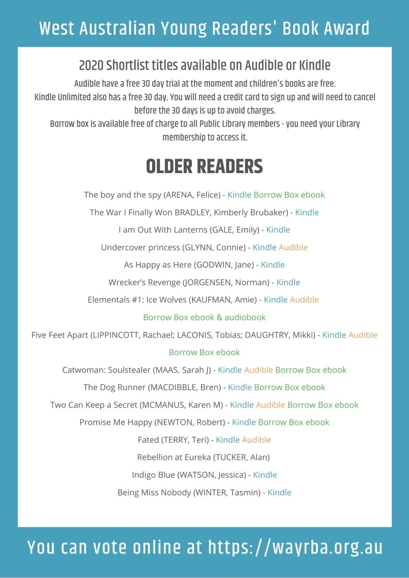 WAYRBA Digital versions of Older Readers Shortlist