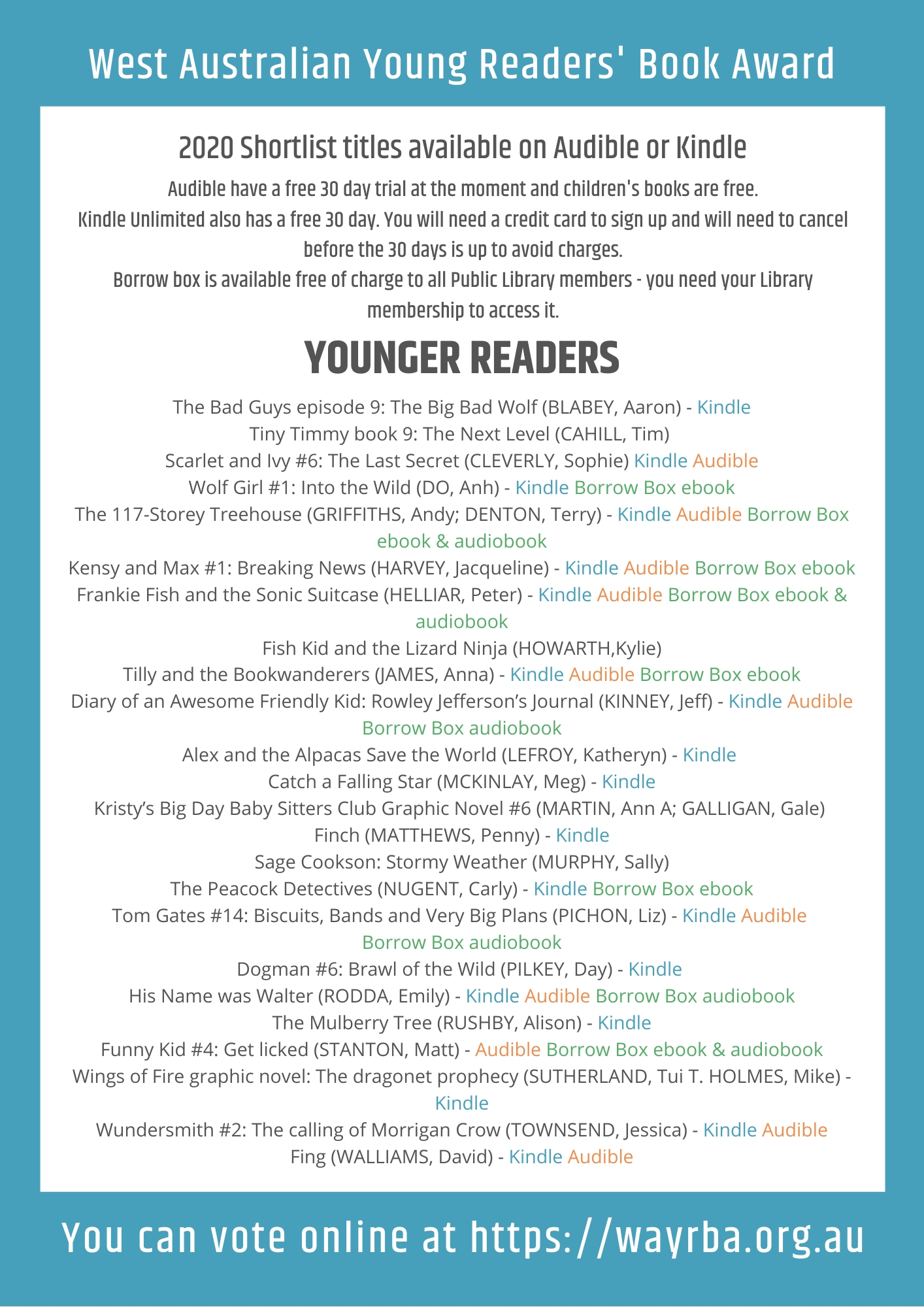 WAYRBA Digital versions of Younger Readers Shortlist